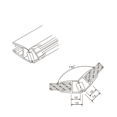 PVCM-1102 Уплотнитель для душевых кабин магнитный